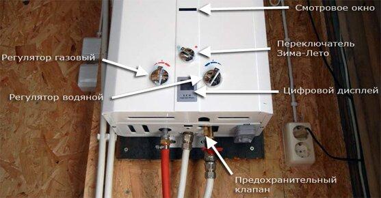 Устройство газового проточного бойлера