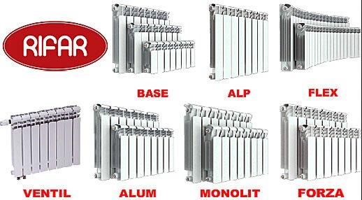 RIFAR биметаллические батареи - модельный ряд