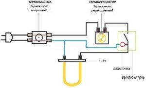 Схема подключения проточного электрического водонагревателя